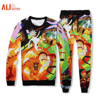Alisister 2 Piece Set Male/female Hoodie+long Pant Rick And Morty