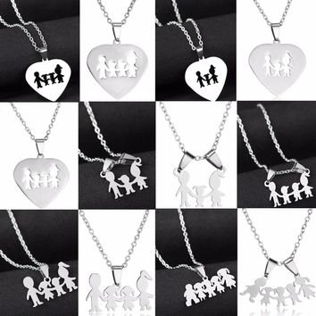 Family Love Son Daughter Necklaces Stainless Steel Heart Pendant Boys Girls Mothers Fathers Necklace Gifts For Mom Dad Children