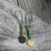 Green Picasso and bronze Dangle earrings.  Fashion dangle earrings.