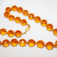 Vintage Amber  Crystal Necklace Glass Bead 1950s Boho Jewelry