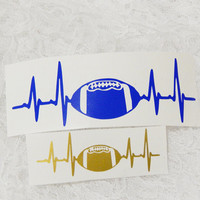 1.75x6 Inch Large Football Lifeline EKG Heart Monitor Soccer Is Life Graphic Permanent Vinyl Decal/Bumper Sticker