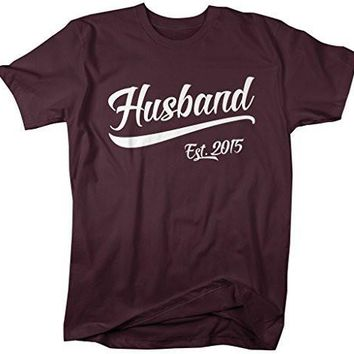 Shirts By Sarah Men's Husband Est. 2015 T-Shirt Wedding Anniversary Shirts