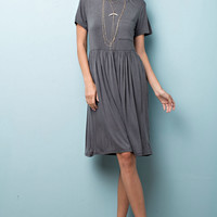 Charcoal Washed Jersey Knit Dress with Pocket Detail