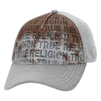 Men's True Religion Brand Jeans Perforated Leather Front Baseball Cap