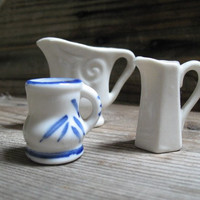 Miniature Pitchers, Three Tiny Creamers, White,  Blue and White