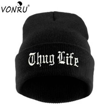 THUG LIFE 2018 Black Letter Beanie Unisex Fashion Hip Hop Mens Beanies Knitted Caps for Women Skullies Gorros Bonnets