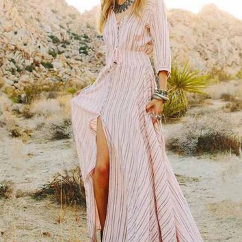 Bohemian  Cut Out Split  Stripe Long Maxi Dress