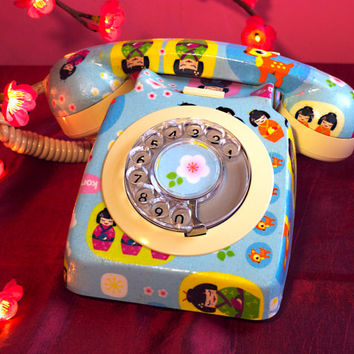 Unique Geisha Kawaii Upcycled Decorated Vintage Rotary Phone FULLY WORKING