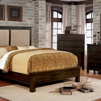 5 pc Canopus collection dark walnut finish wood padded headboard queen bedroom set