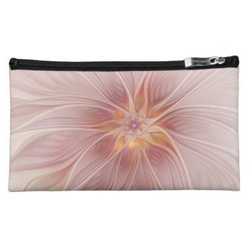 Soft Pink Floral Dream Abstract Modern Flower Makeup Bag