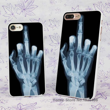 X RAY MIDDLE FINGER Design hard White Skin Case Cover for Apple iPhone 7 6 6s Plus SE 5c 5 5s 4 4s