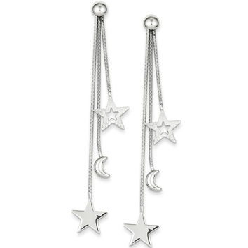 925 Sterling Silver Night Sky Moon and Stars Post Dangle Earrings