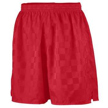 Augusta 431 Long Checkerboard Nylon Short-Youth - Red