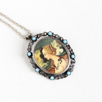 Vintage 800 Silver Hand Painted Brooch Pendant - 1920s Miniature Portrait Simonetta Vespucci as Cleopatra Filigree Snake Necklace Jewelry
