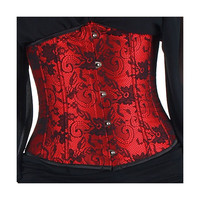 Red Floral Lace Underbust Corset
