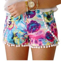 Floral Print Shorts With Pom Pom Detail