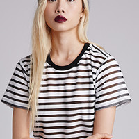 Sheer-Striped Crop Top