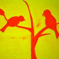 10% off sale- 18x14 Wrapped Canvas Pink and Yellow Bird Art