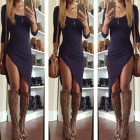 HOT IRREGULAR LONG SLEEVE DRESS
