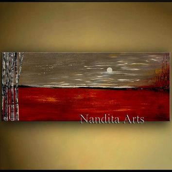 "Red and Gold Landscape Painting, 60"" Original Birch Tree Artwork, Modern Art, Abstract Luxury Wall Hanging by Nandita 60""x24""(152.4x60.96cm)"