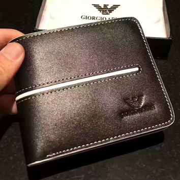 GIORGIO ARMANI Mens Brown Leather Card Holder Wallet