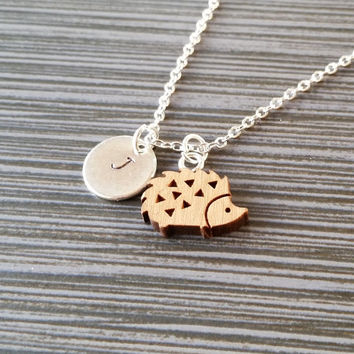Wooden Hedgehog Necklace - Hedgehog Charm Necklace - Personalized Necklace - Custom Gift - Initial Necklace - Silver Charm Necklace