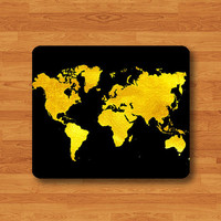 GOLD World Map Atlas Black Art Print Mouse Pad Geographic MousePad Desk Deco Work Pad Mat Rectangle Personal Ecofriendly Sustainable Desk