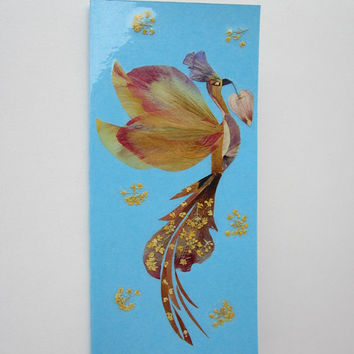 "Handmade unique greeting card ""Bird Carnival in Rio "" - Decorated with dried pressed flowers and herbs - Original art collage."
