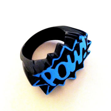 pow sky blue & black metal 10 men ladies unisex ring by albalopez