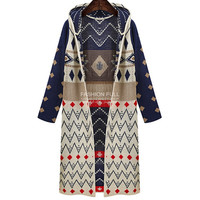 Print Long Sleeve Striped Knit Cardigan Outerwear