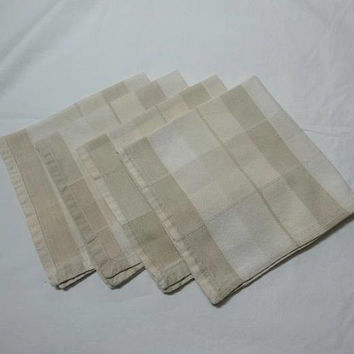 4 Vintage 1980s Plaid Tan Woven Dinner Napkins, 16 x 15.5 Inches, Tan, Peach, Ivory Subtle Colors, Vintage Linens, Country Table Linens
