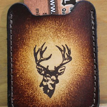 Flip Clip, Engraved DEER head -- Men's Brown Leather Credit Card Wallet with Money Clip--Initials Free!