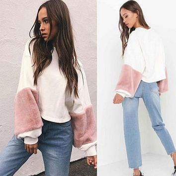 Fashion Women Casual Plush Long Sleeve Loose Hoodie Velvet Pullover Sweatshirts Women's Warm Tops Patchwork Clothes