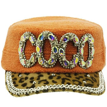 Coco Military Style Faceted Hat Orange