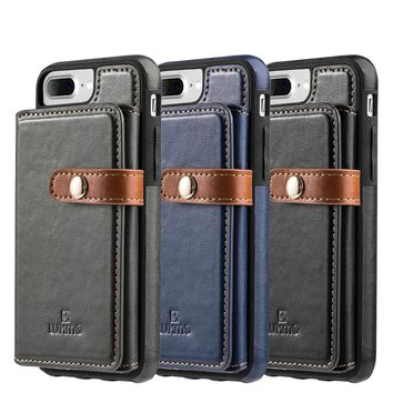 """LUXMO 5.5"""" PU Leather Phone Case for iPhone 6 6s 7 8 Plus Back Cover Wallet Phone Bag Case for iPhone 7 Plus with Card Slot"""