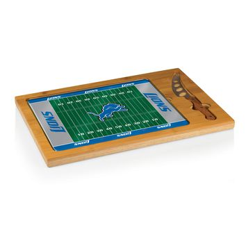 Detroit Lions - Icon Glass Top Serving Tray & Knife Set (Football Design)