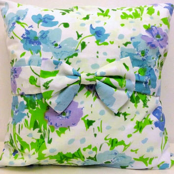 Bow Pillow - 16x16 -Vintage Fabric Cover - Purple and Blue Poppy Flowers - Eco-friendly & Upcycled Vintage Floral Fabrics
