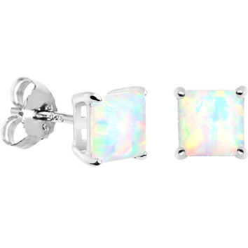 6mm Square Sterling Silver Synthetic Opal Stud Earrings | Body Candy Body Jewelry
