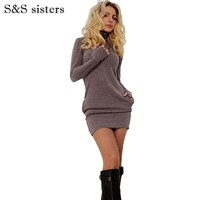 S&S sisters Women Long Sleeve Thumb Out Dress With Pockets Winter Clothes Dress Fall Women's Clothing Sexy Office Dress
