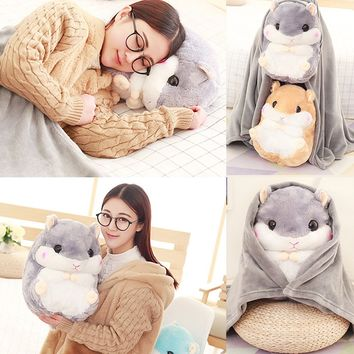 Hot Office Travel Cushion Blankets Birthday Gifts Cute Hamster Hold Pillow Blanket Home Decoration Bedding Coral Wool Blanket