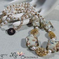 Prima Blog Team Ivory Pearls and Gold Necklace Set - Krafty Max Design