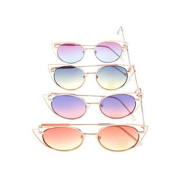Cat eye metal framed color lens sunglasses pack