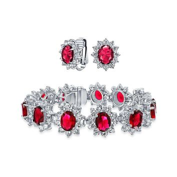 Red Lab Created Ruby Oval Halo Bracelet Clip On Earring Silver Plated