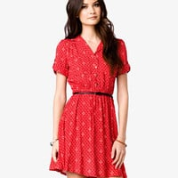 Ditsy Shirt Dress w/ Skinny Belt