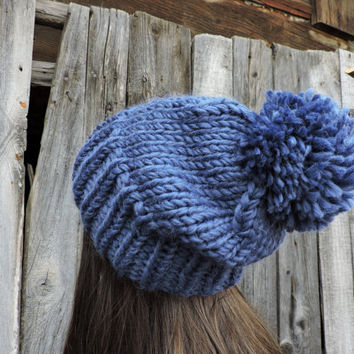 0f0e976ff5254 FREE SHIPPING Blue knit hat Slouchy hat Beanie with pom pom Navy blue Hand knit  hat