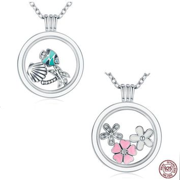 925 Sterling Silver Tropical Paradise Mixed Enamel CZ Memories Floating Box Pendant & Necklace