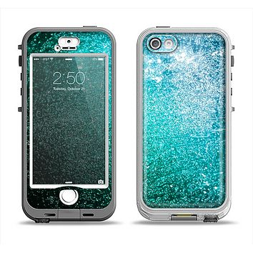 The Grungy Teal Texture Apple iPhone 5-5s LifeProof Nuud Case Skin Set