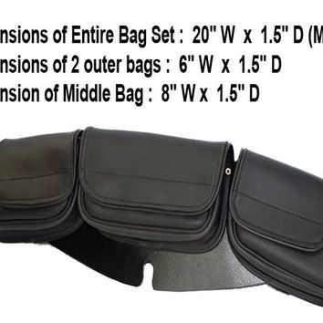 Motorcycle water resistant 3 pockets Windshield bag plain Velcro release