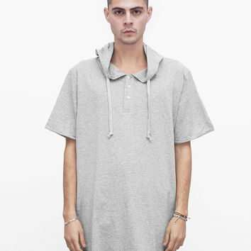 Oversized Kurta Hoodie in Heather Gray