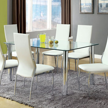 Furniture of america CM8319T-8310WH-7PC 7 pc kalawao i chrome legs tempered glass table top dining table set